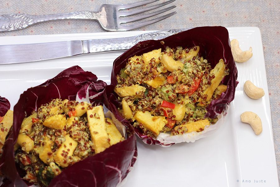 Achicoria roja con quinoa al curry